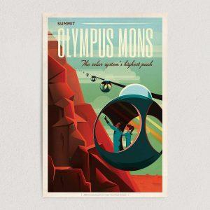 "Explore Mars Olympus Mons Art Print Poster 12"" x 18"" Wall Art SA1312"