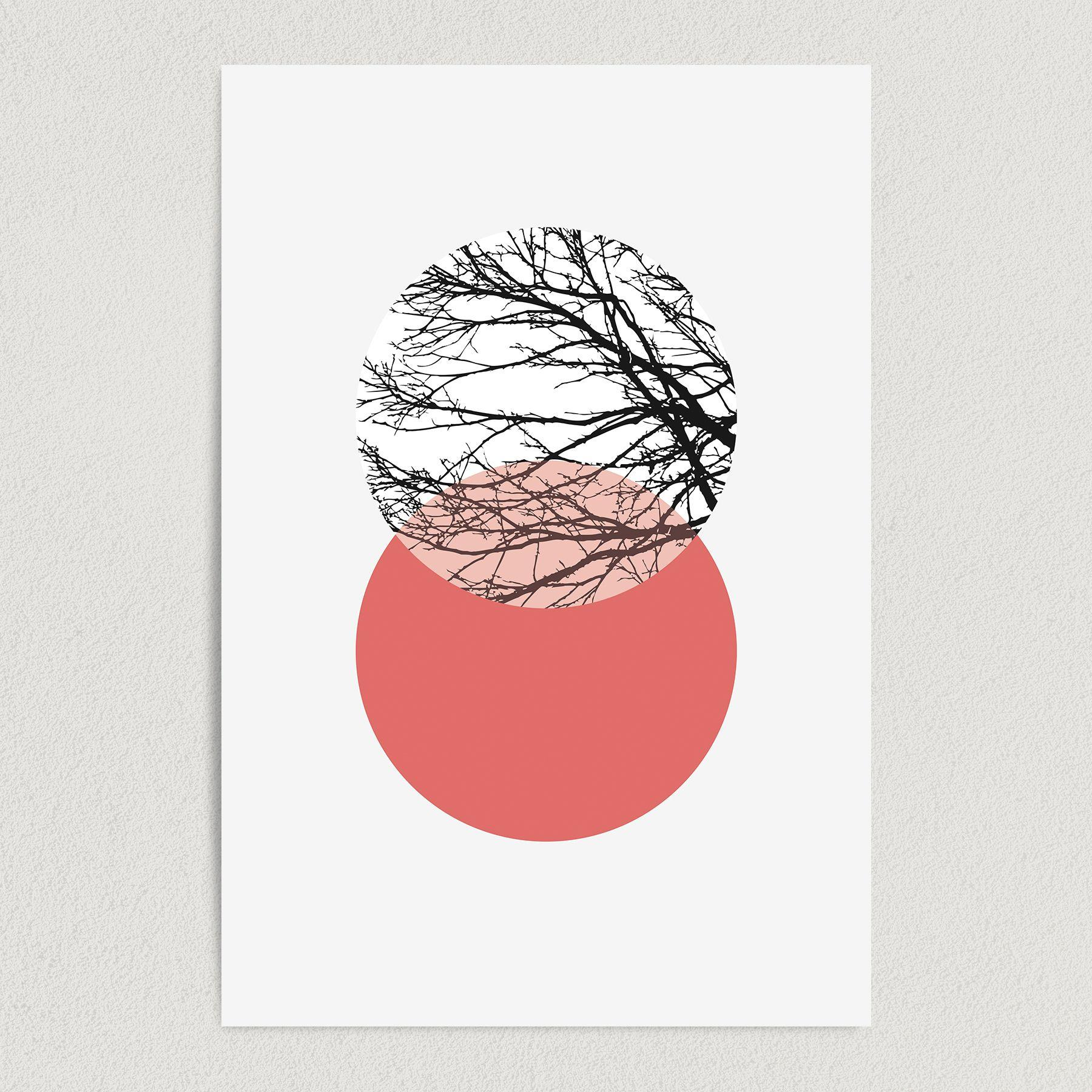 Tree Silhouette Double Circle Art Print Poster 12″ x 18″ Wall Art A2011
