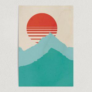 "Sunset Mountain Geometric Landscape Art Print Poster 12"" x 18"" Wall Art A2136"