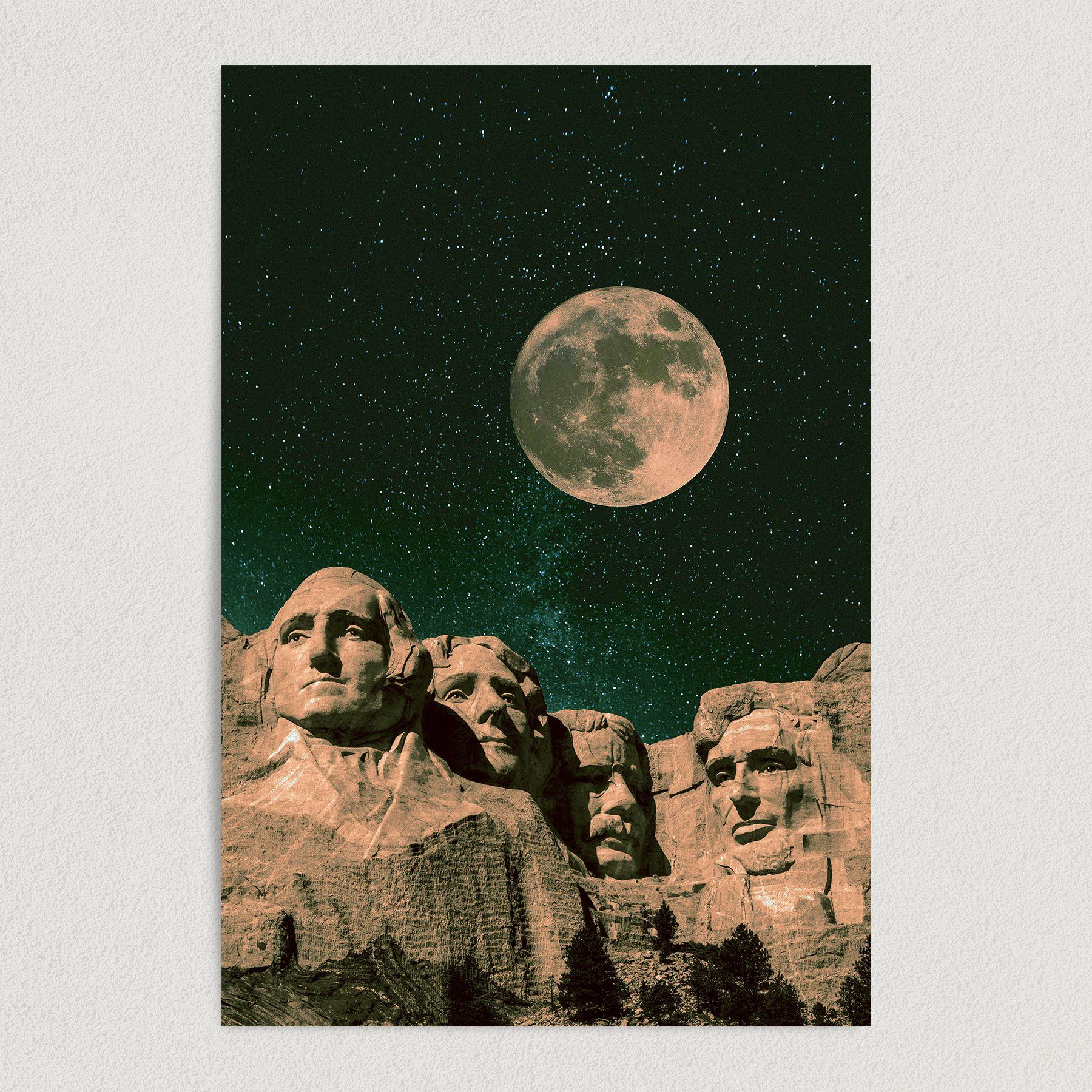 Mount Rushmore South Dakota Abstract Travel Art Print Poster 12″ x 18″ Wall Art AB2136