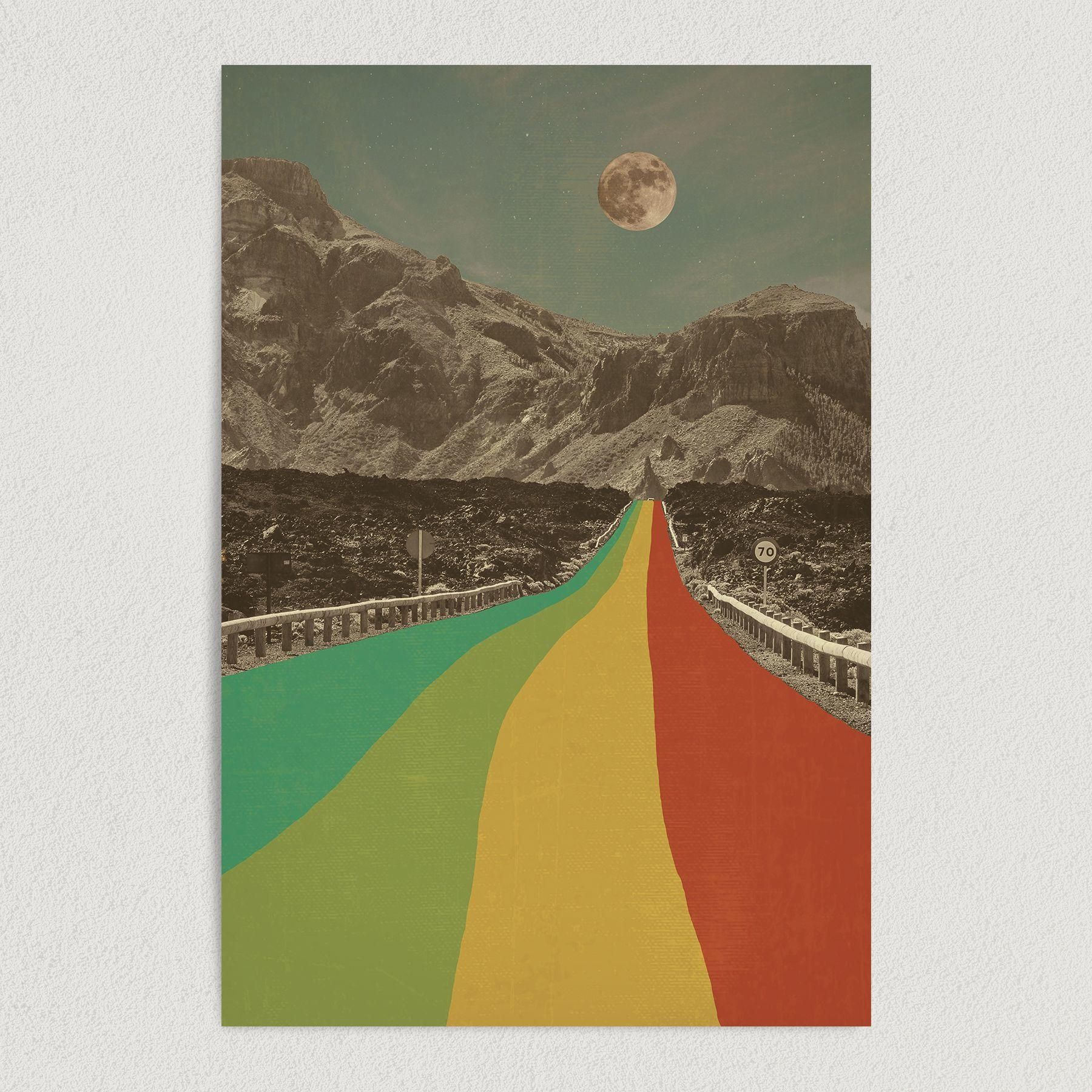 Rainbow Mountain Road Surreal Art Print Poster 12″ x 18″ Wall Art AB2711