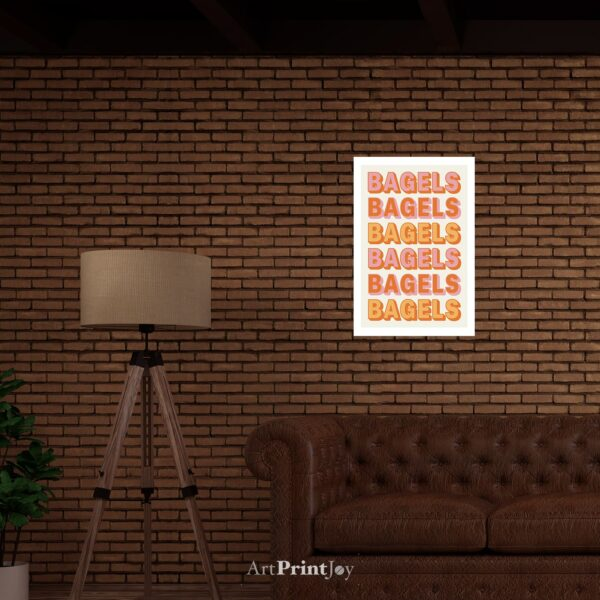 "Bagels Rising Text Art Print Poster 12"" x 18"" Wall Art AH3395"