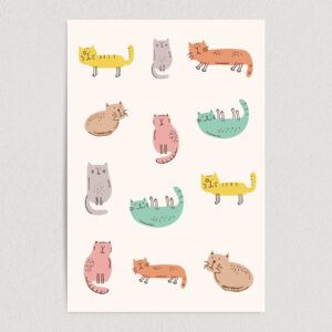"Abstract Variety Cats Art Print Poster 12"" x 18"" Wall Art AI1113"