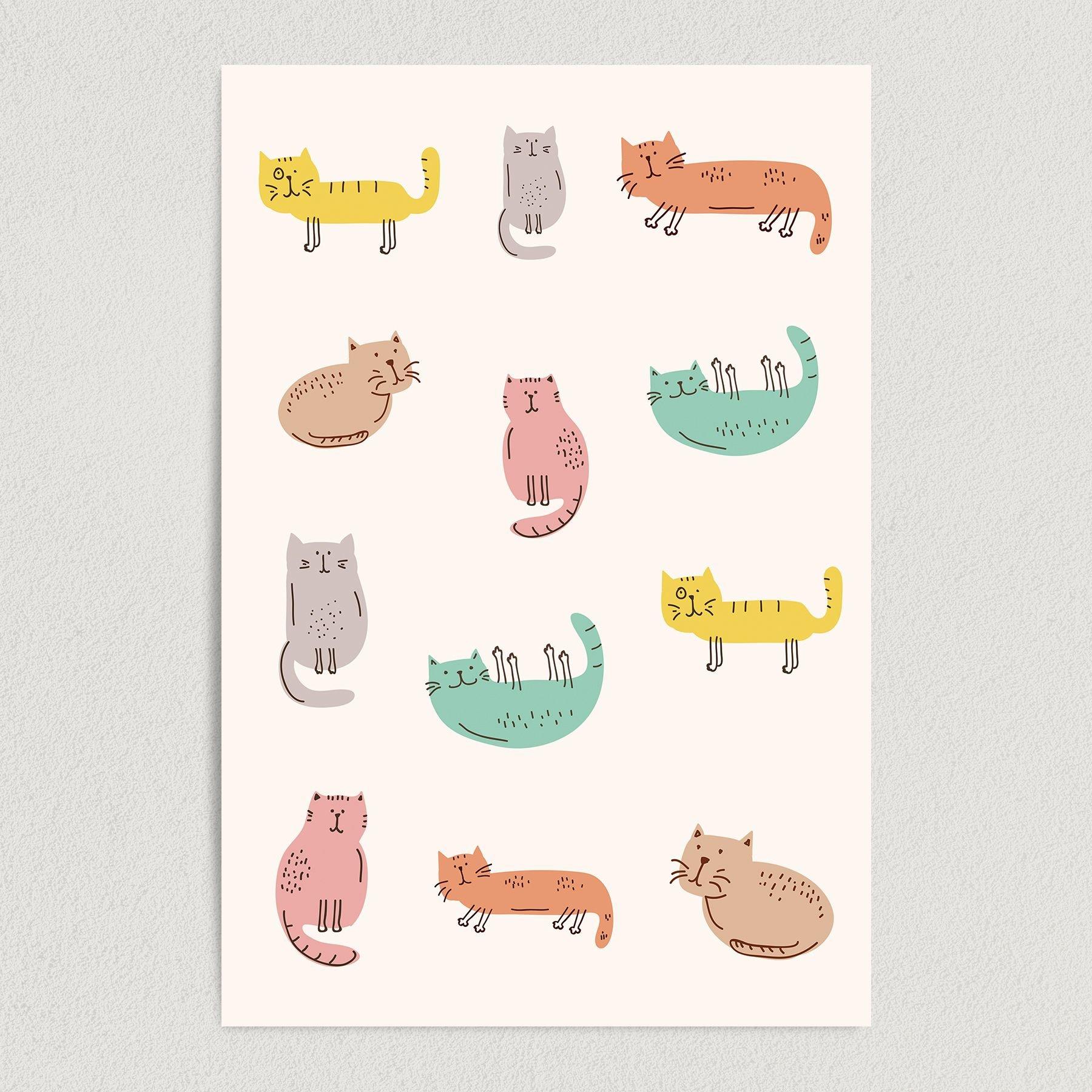 Abstract Variety Cats Art Print Poster 12″ x 18″ Wall Art AI1113