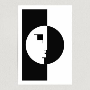 "Bauhaus Abstract Face Art Print Poster 12"" x 18"" Wall Art AI3346"