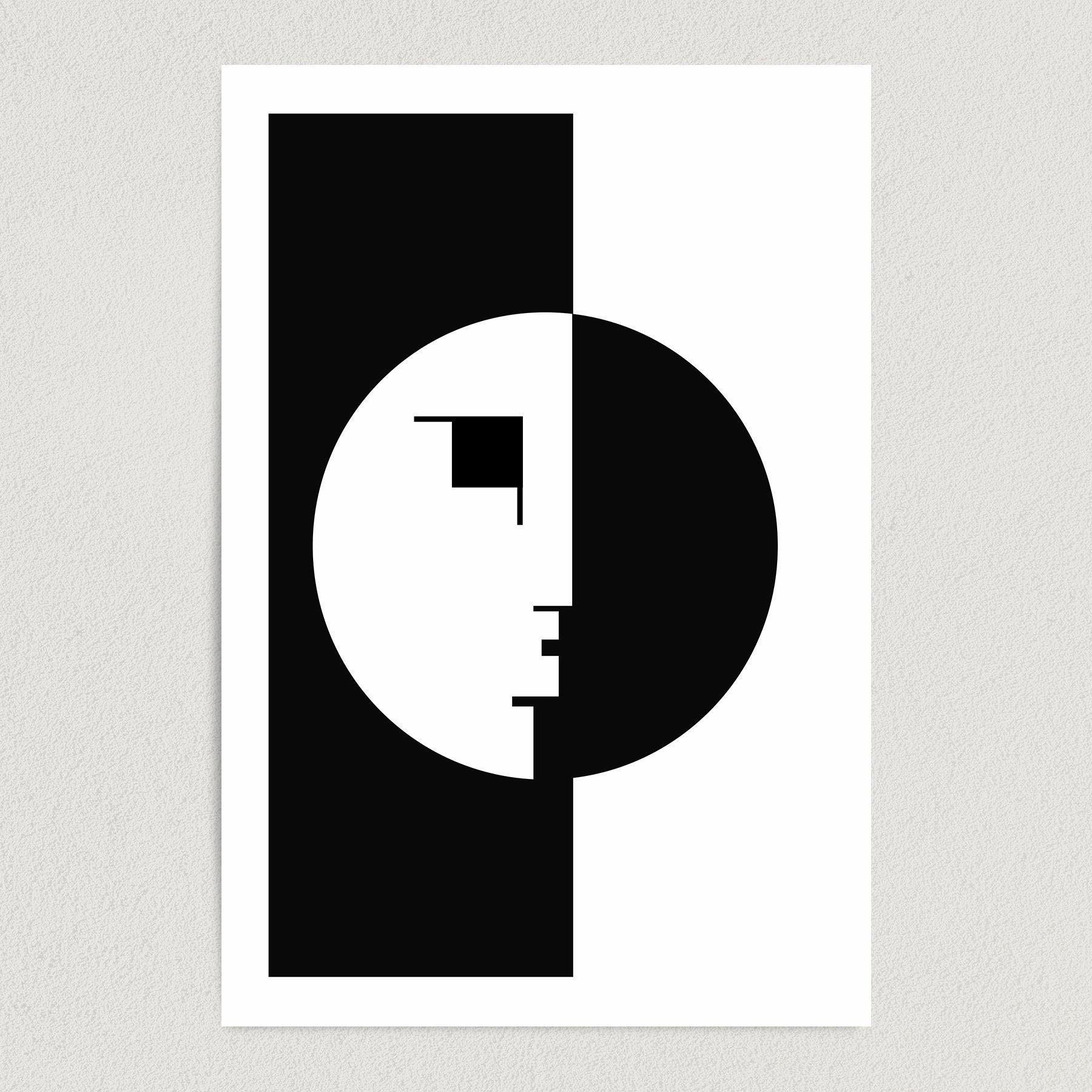 Bauhaus Abstract Face Art Print Poster 12″ x 18″ Wall Art AI3346