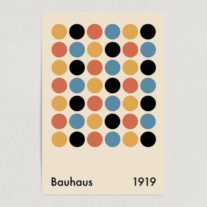 """Bauhaus Dots Art Print Poster 12"""" x 18"""" Wall Art AI3398"""