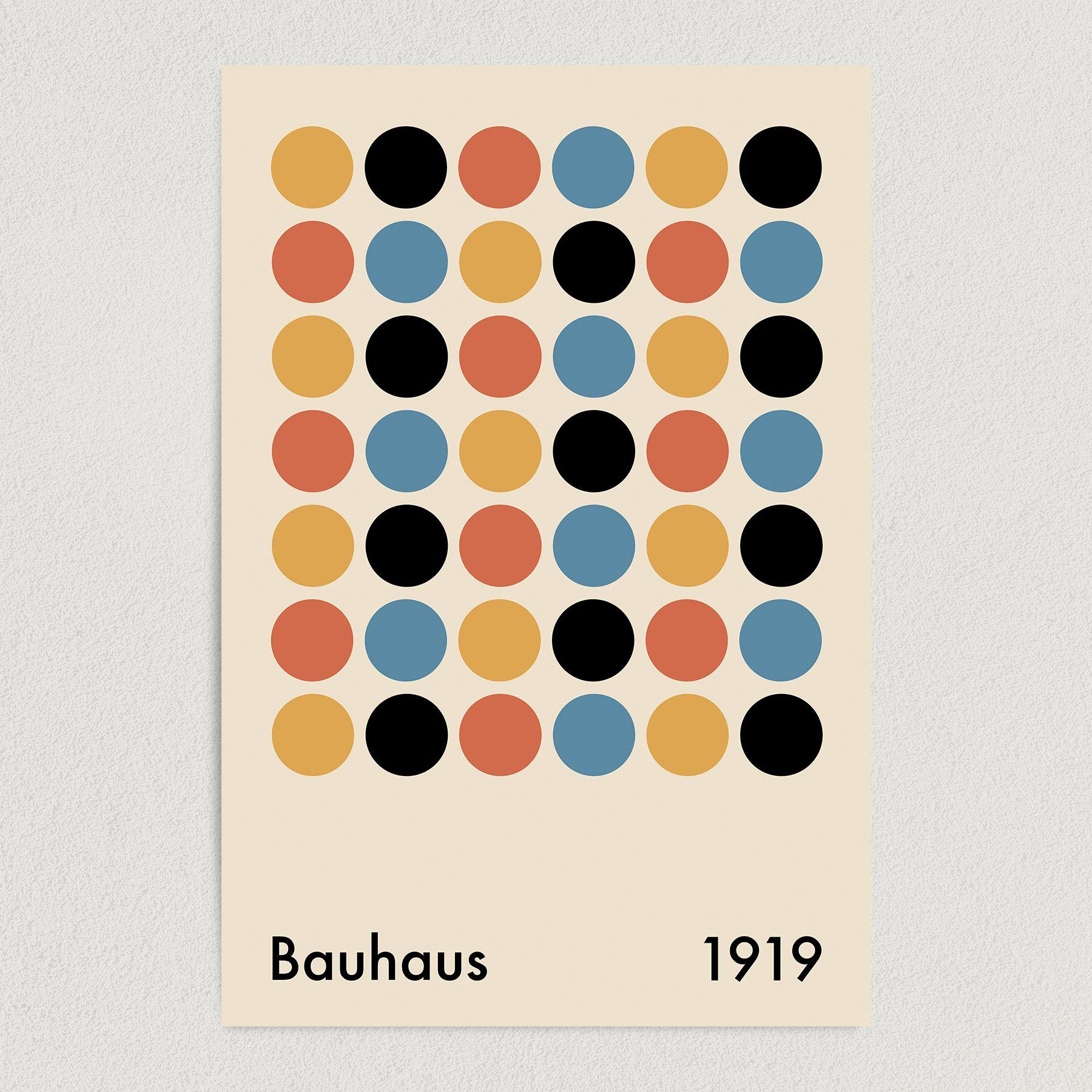 Bauhaus Dots Art Print Poster 12″ x 18″ Wall Art AI3398