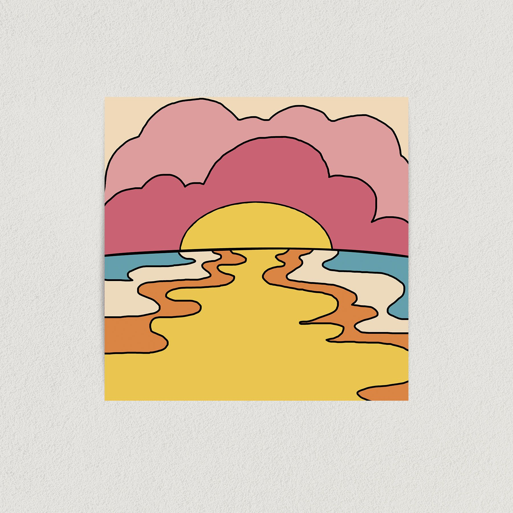 Dreaming Of Colorful Sunsets Art Print Poster 12″ x 12″ Wall Art AL1002