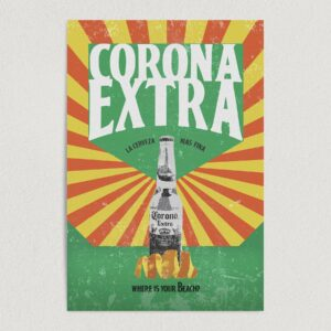 """""""Corona Extra, Where Is Your Beach?"""" Vintage Beer Art Print Poster 12"""" x 18"""" Wall Art AL1099"""