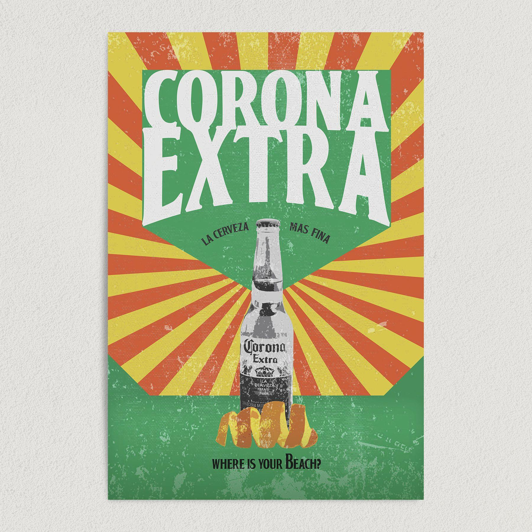 """""""Corona Extra, Where Is Your Beach?"""" Vintage Beer Art Print Poster 12″ x 18″ Wall Art AL1099"""