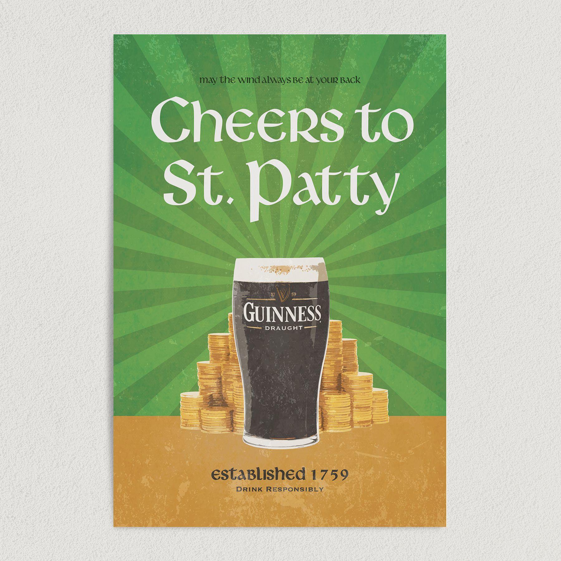 Cheers To St. Patty Art Print Poster 12″ x 18″ Wall Art VH1115