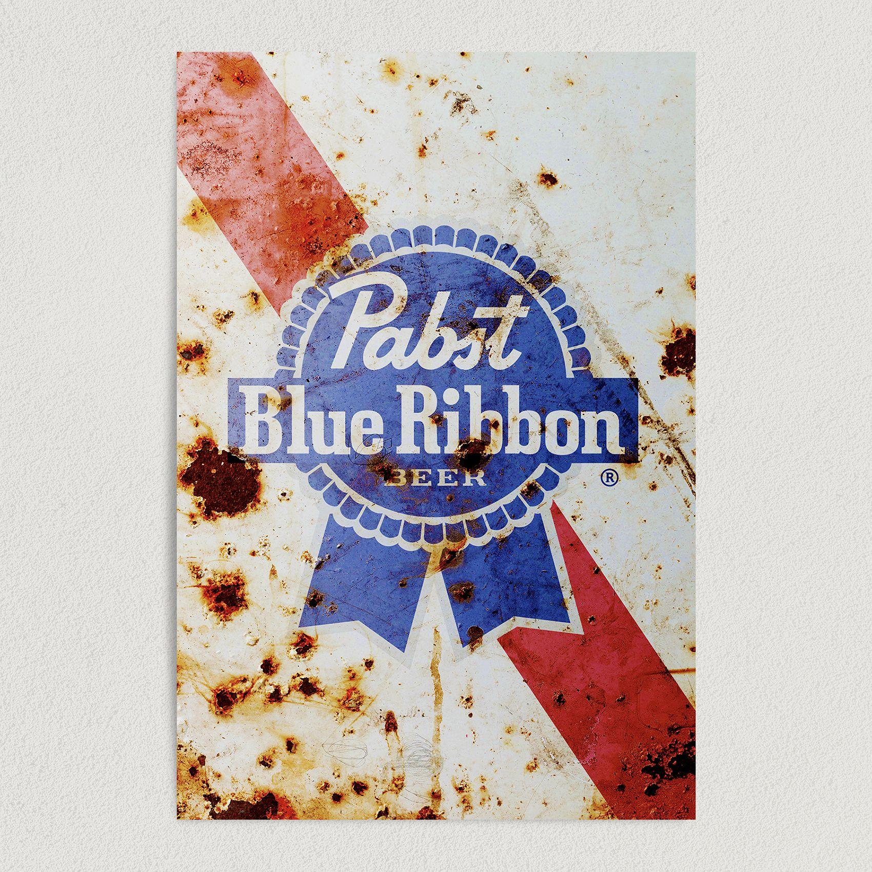 Pabst Blue Ribbon Rusted Logo Art Print Poster 12″ x 18″ Wall Art AL2147