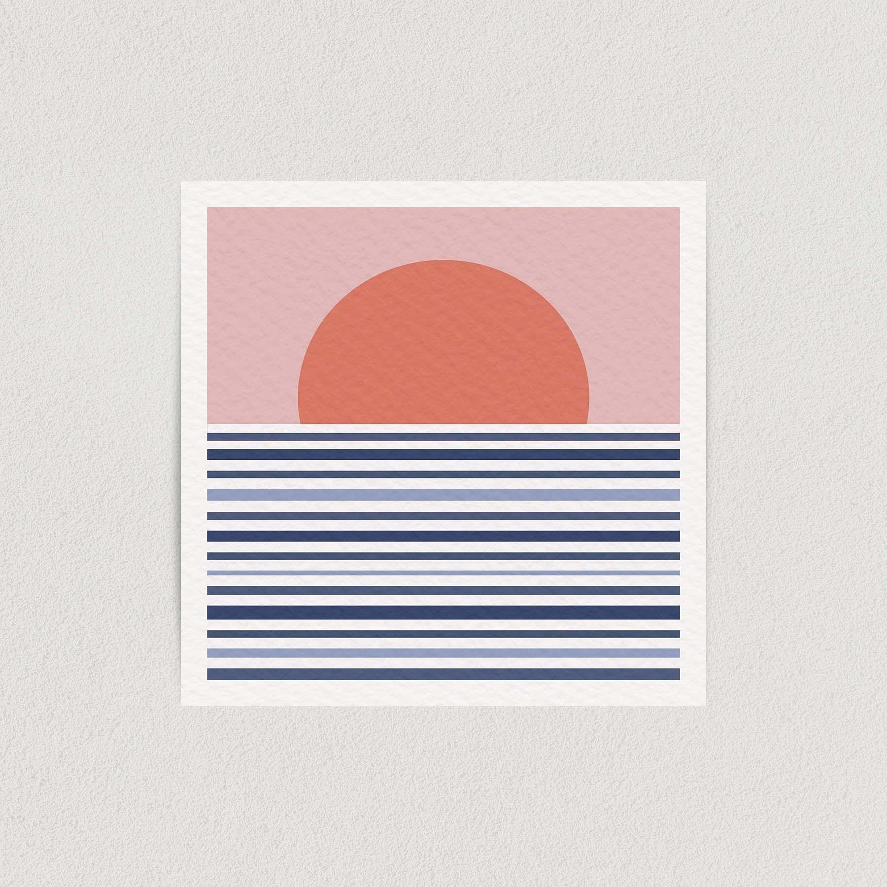 """Abstract Sunset Horizon Art Print Poster """" Wall Art AN1010"""
