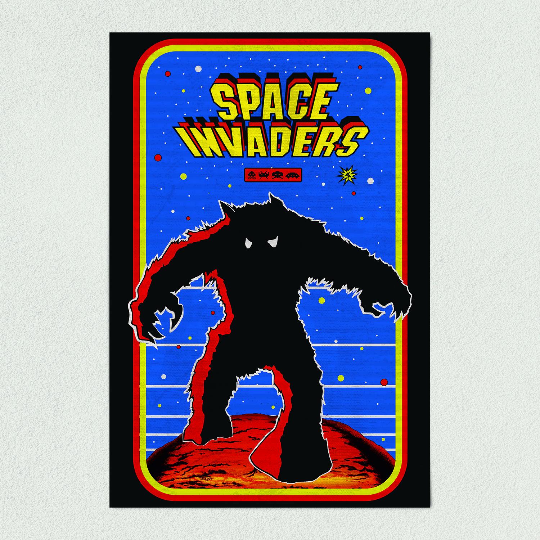 Space Invaders Retro Arcade Art Print Poster 12″ x 18″ Wall Art AV1107