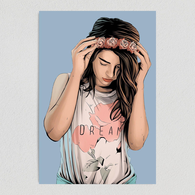 Dream Big Baby Girl Art Print Poster 12″ x 18″ Wall Art WE1210