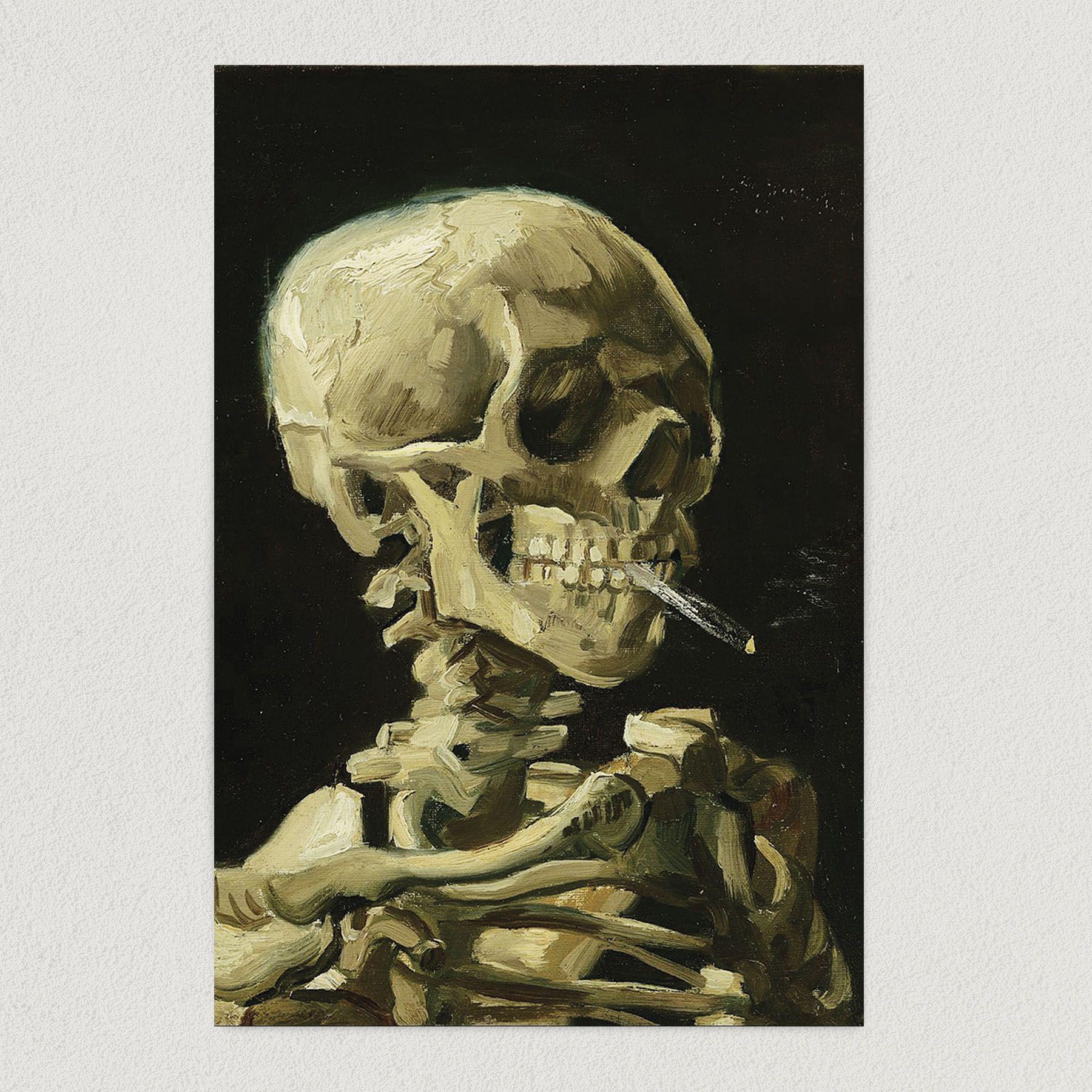 "Van Gogh ""Head of a Skeleton With a Burning Cigarette"" Art Print Poster 12″ x 18″ Wall Art FVA1001"