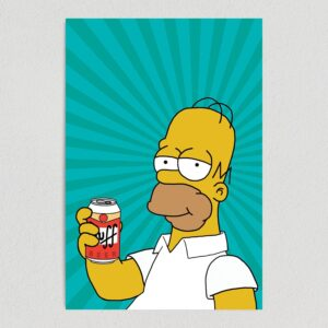 "Homer Simpson Duff Beer Art Print Poster 12"" x 18"" Wall Art TV1070"