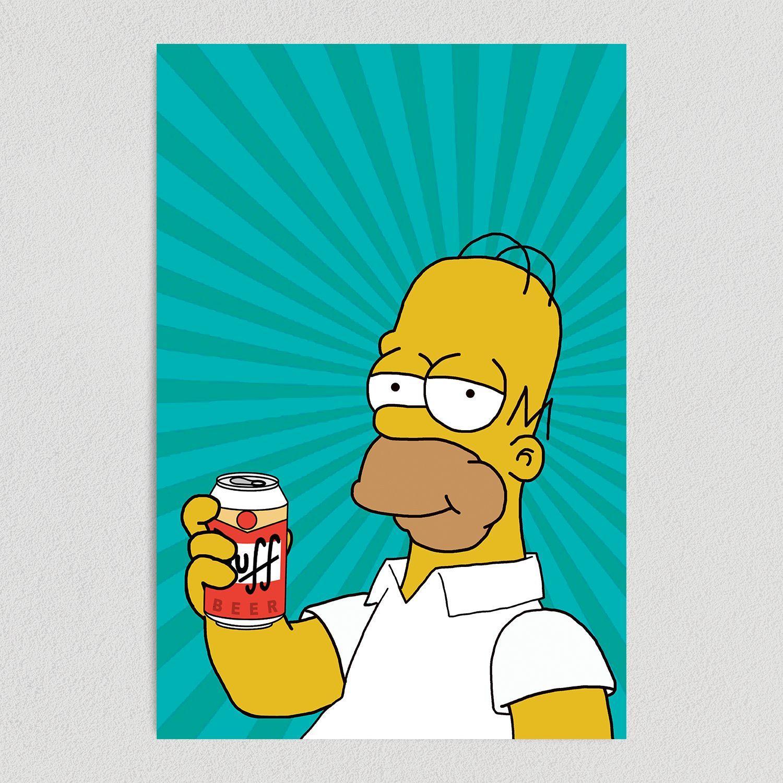 Homer Simpson Duff Beer Art Print Poster 12″ x 18″ Wall Art TV1070