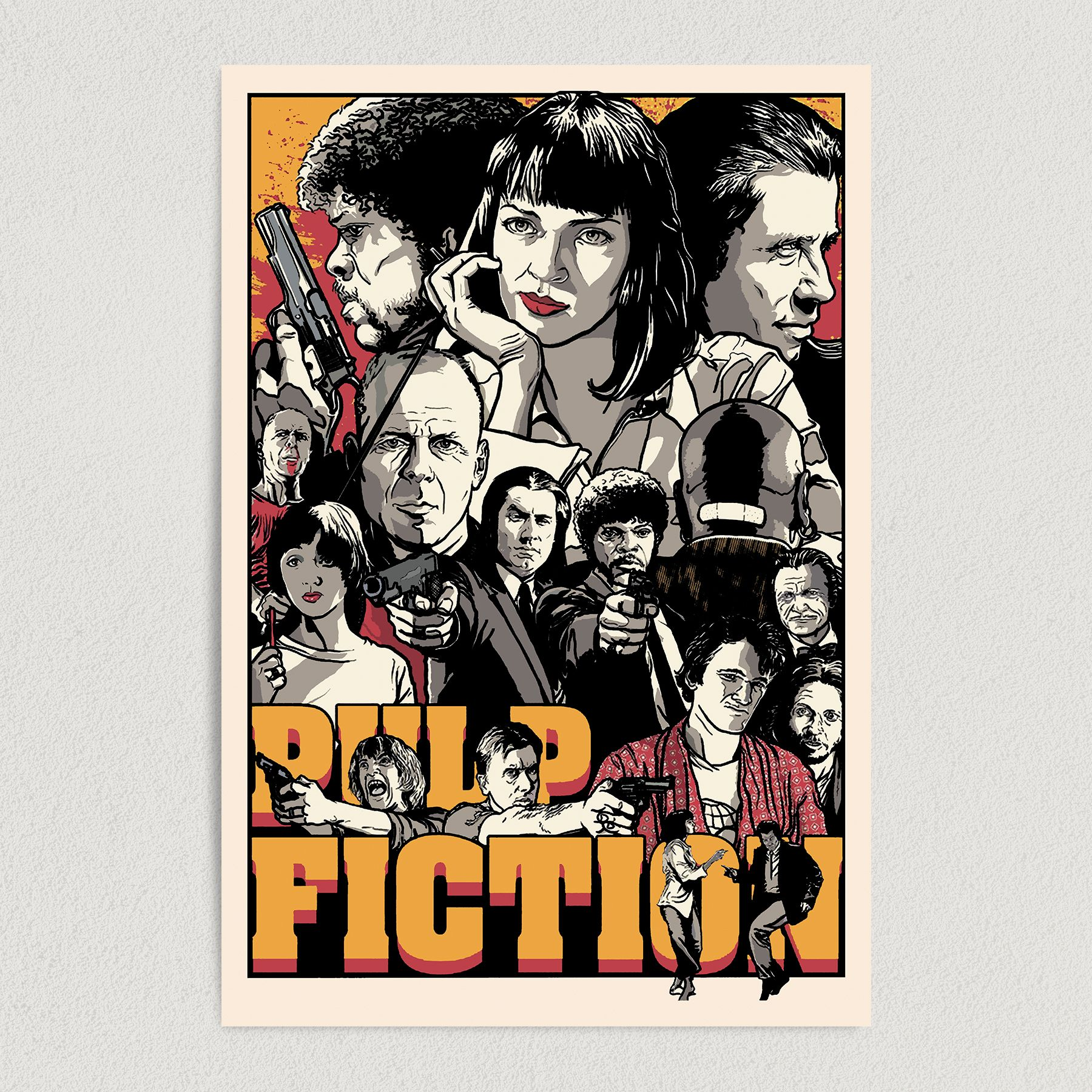Pulp Fiction Quentin Tarantino Cult Classic Movie Art Print Poster 12″ x 18″ Wall Art M2133