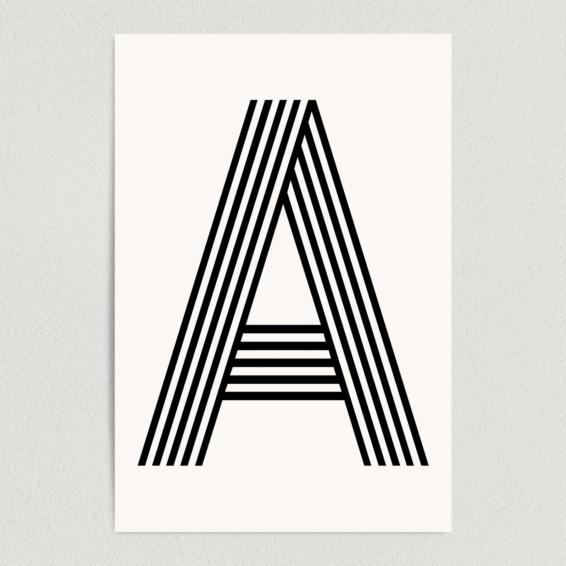 Letter A Modern Typography Art Print Poster 12″ x 18″ Wall Art M2160