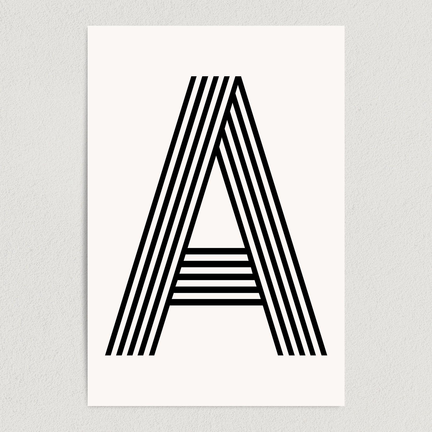 Letter A Modern Typography Art Print Poster 12″ x 18″ Wall Art M2160