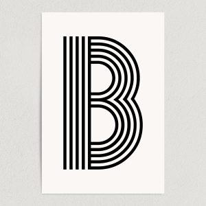 "Letter B Modern Typography Art Print Poster 12"" x 18"" Wall Art M2161"