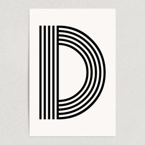 "Letter D Modern Typography Art Print Poster 12"" x 18"" Wall Art M2163"