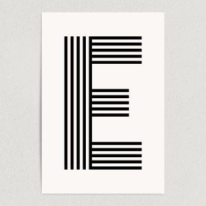 "Letter E Modern Typography Art Print Poster 12"" x 18"" Wall Art M2164"