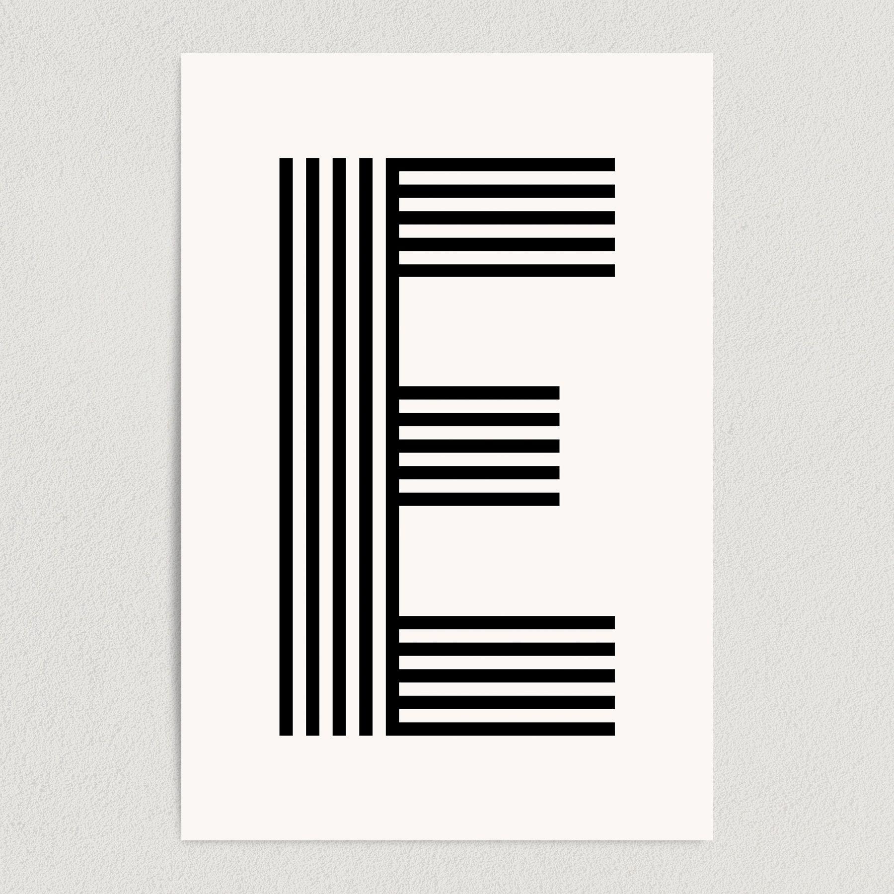 Letter E Modern Typography Art Print Poster 12″ x 18″ Wall Art M2164