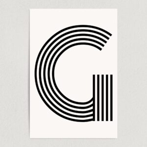 "Letter G Modern Typography Art Print Poster 12"" x 18"" Wall Art M2166"