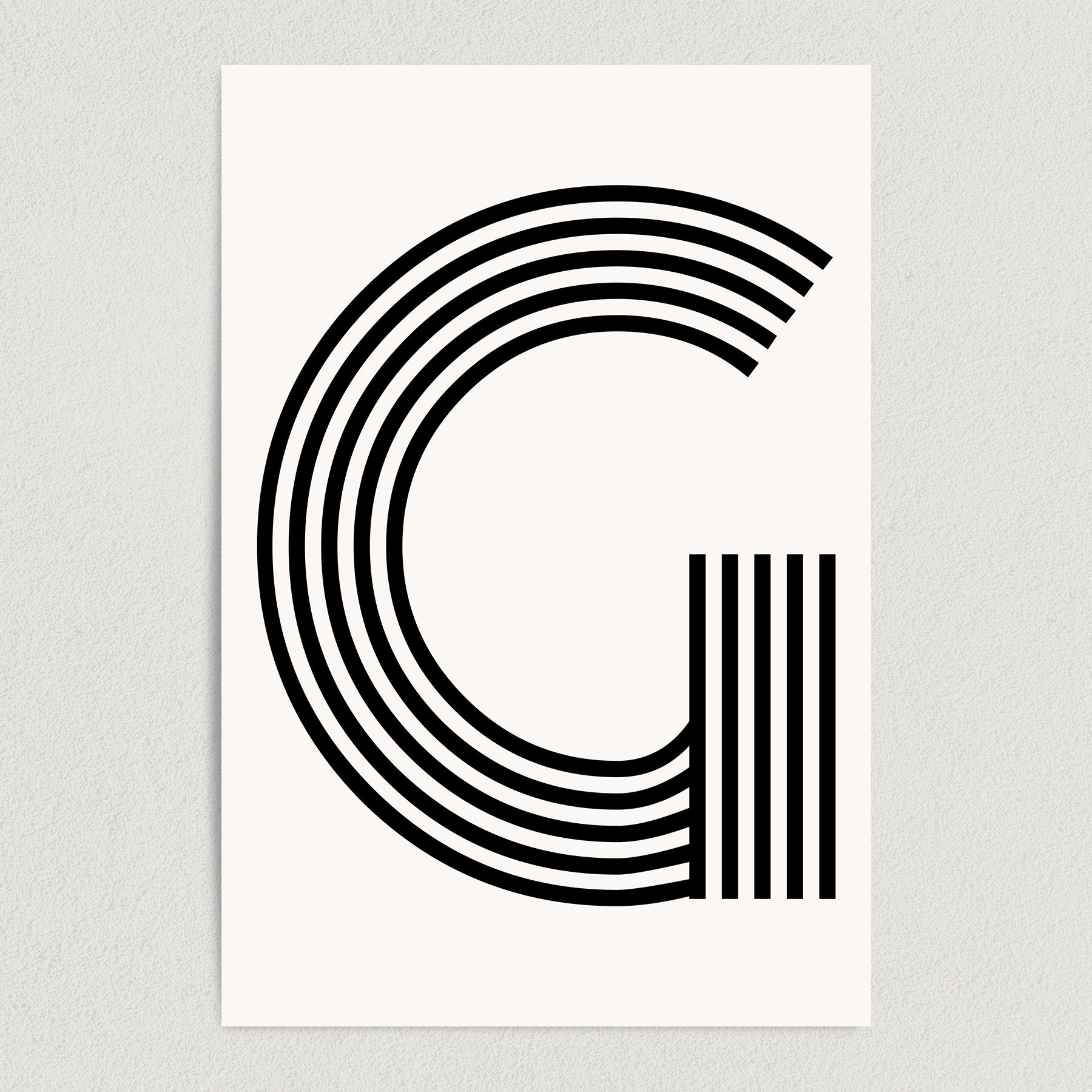 Letter G Modern Typography Art Print Poster 12″ x 18″ Wall Art M2166