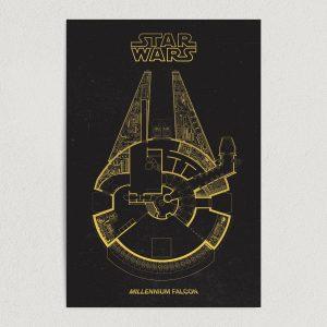 """Millennium Falcon Star Wars Art Print Poster 12"""" x 18"""" Wall Art M2711"""