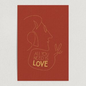 "Lennon Love Outline Art Print Poster 12"" x 18"" Wall Art MPC1201"