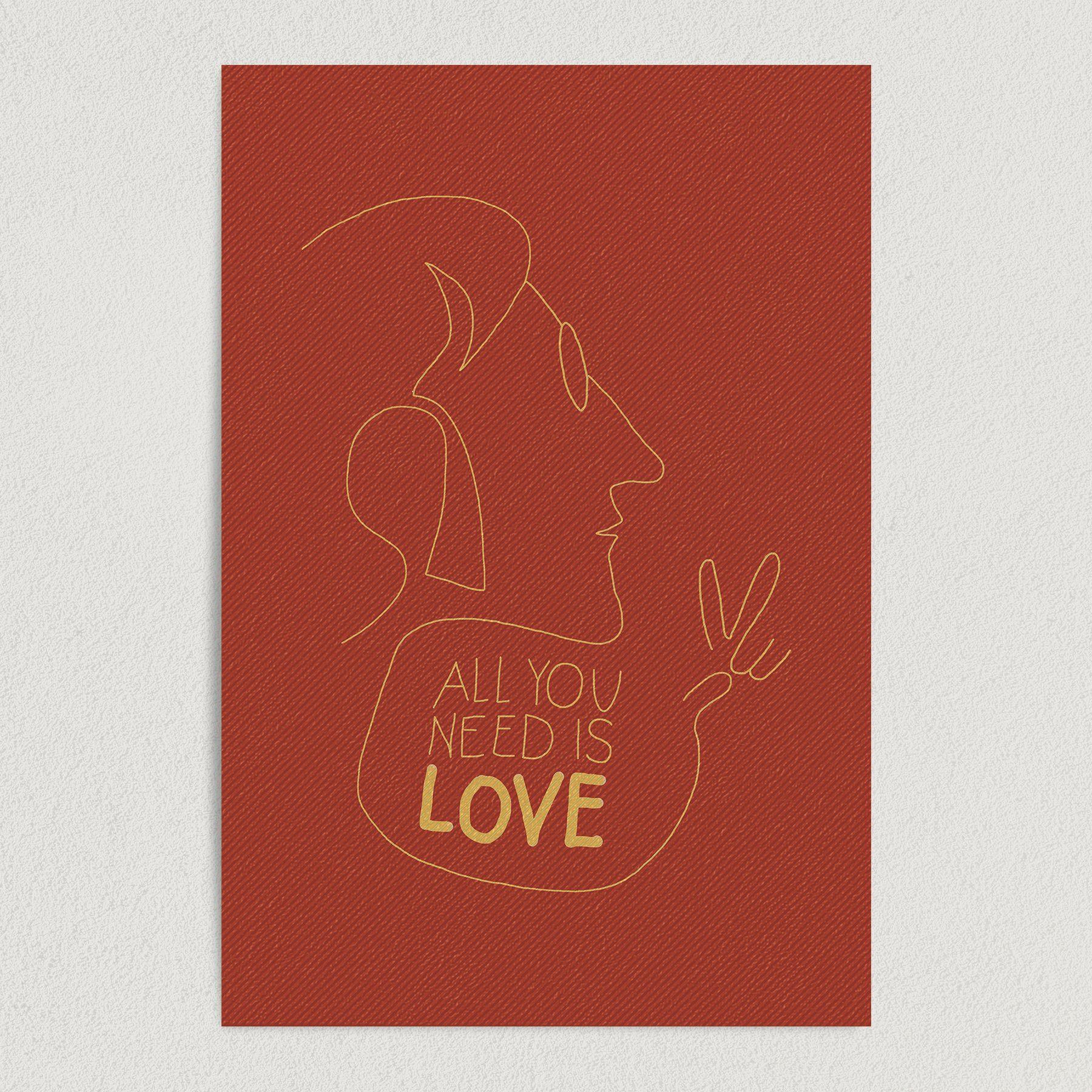 Lennon Love Outline Art Print Poster 12″ x 18″ Wall Art MPC1201