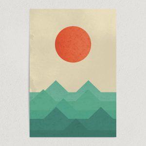 "Sun Rises Over Ocean Waves Abstract Art Print Poster 12"" x 18"" Wall Art N1167"
