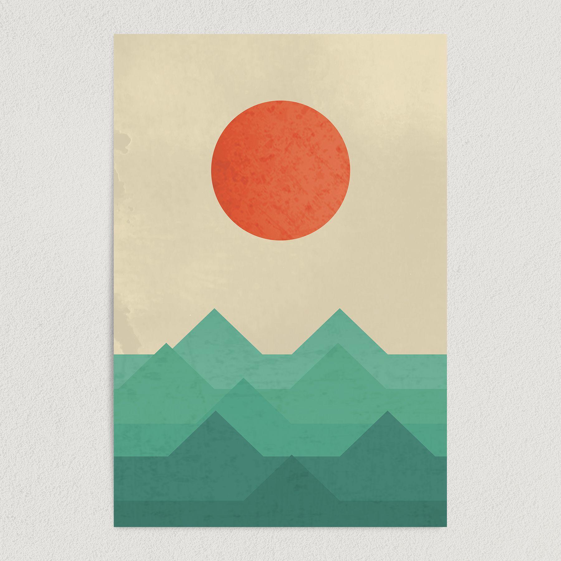 Sun Rises Over Ocean Waves Abstract Art Print Poster 12″ x 18″ Wall Art N1167