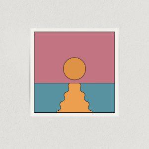 """Abstract Ocean Sunset Art Print Poster 12"""" X 12"""" Wall Art AN1301"""