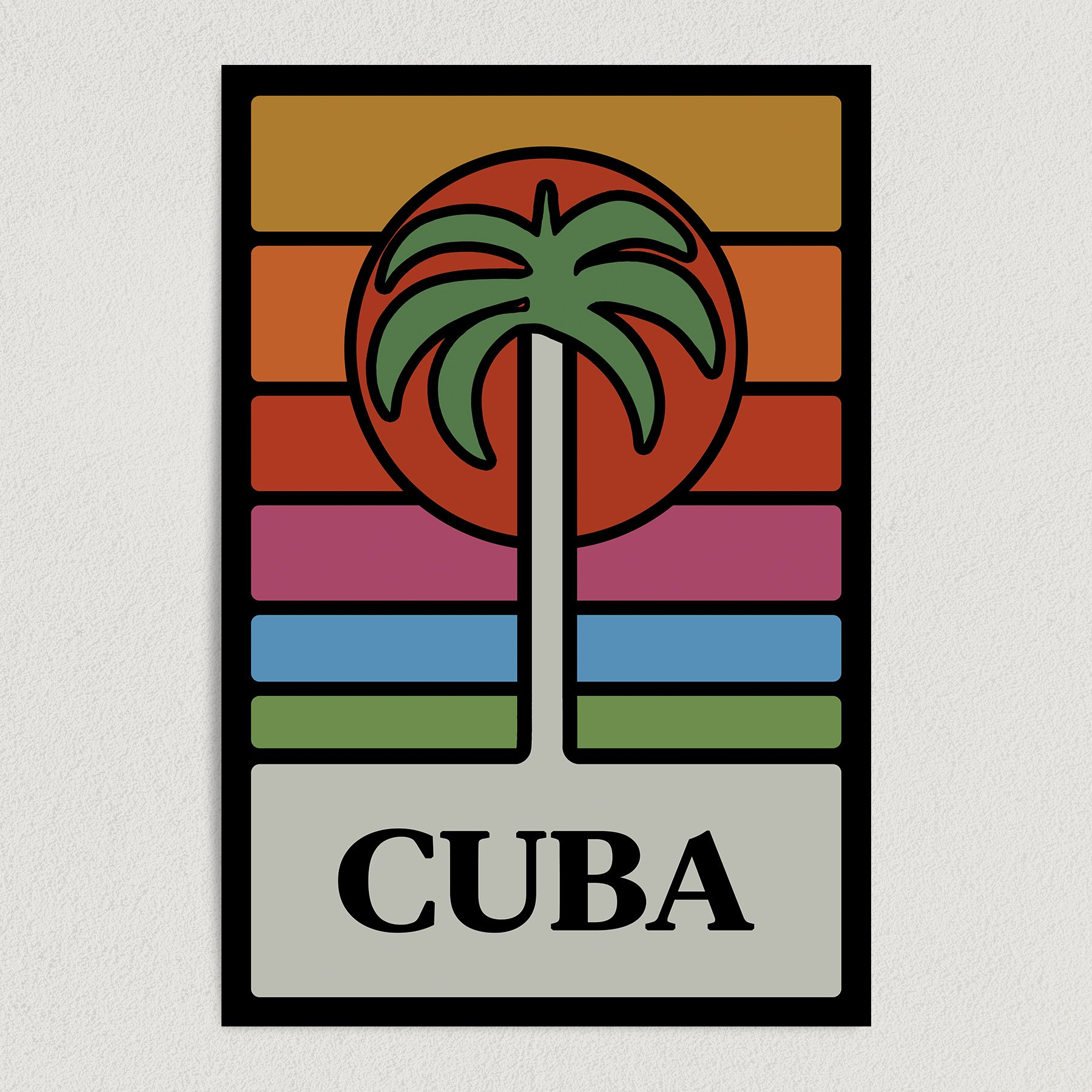 Cuba Sunset Retro Palm Tree Art Print Poster 12″ x 18″ Wall Art R2148