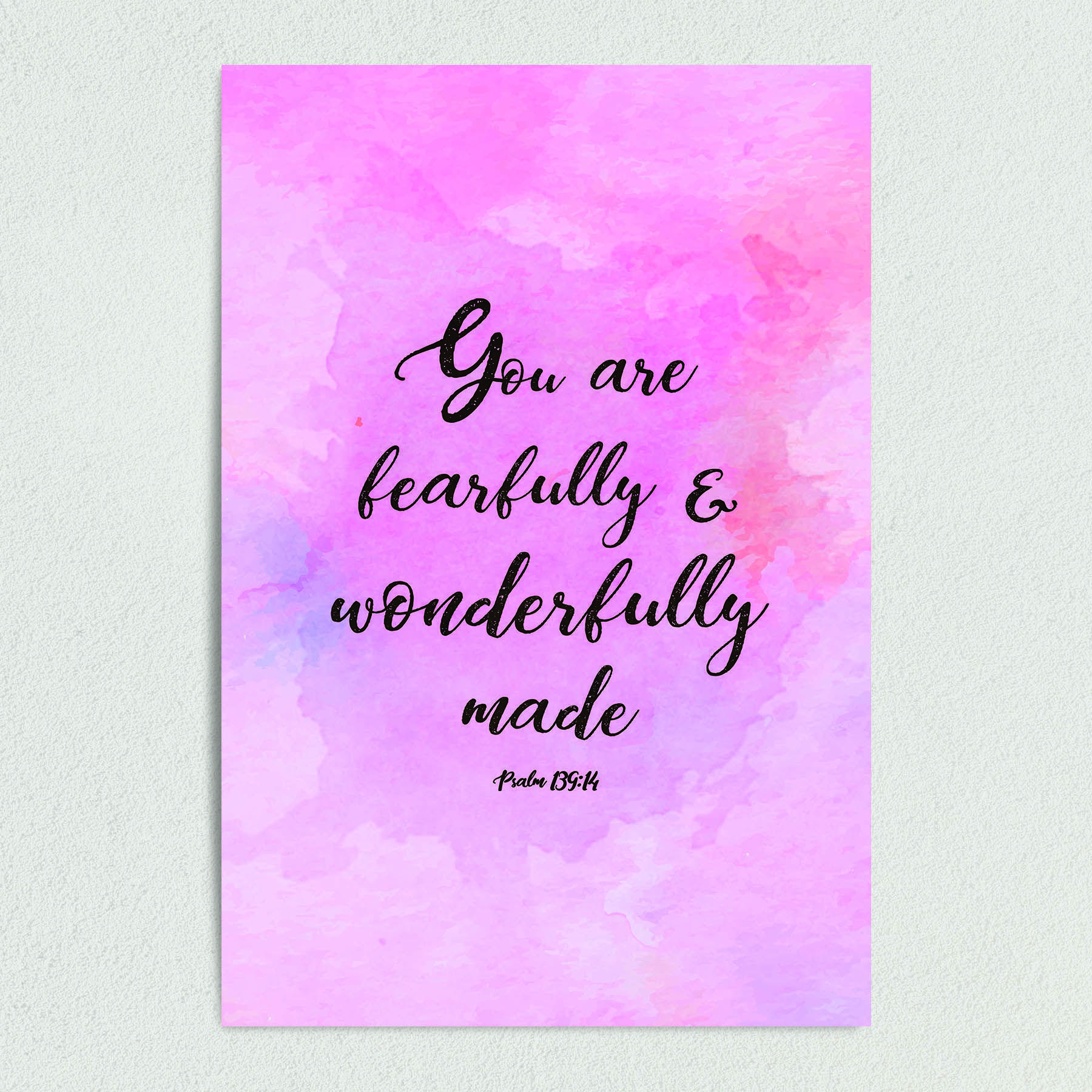 Psalm 139:14 Fearfully and Wonderfully Made Art Print Poster 12″ x 18″ Wall Art RS1001