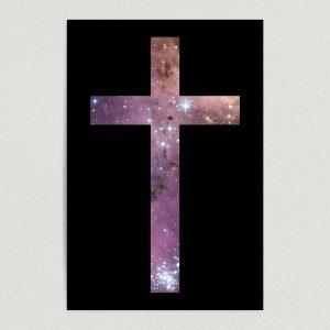 "Crucifix Galaxy Art Print Poster 12"" x 18"" Wall Art RS2753"
