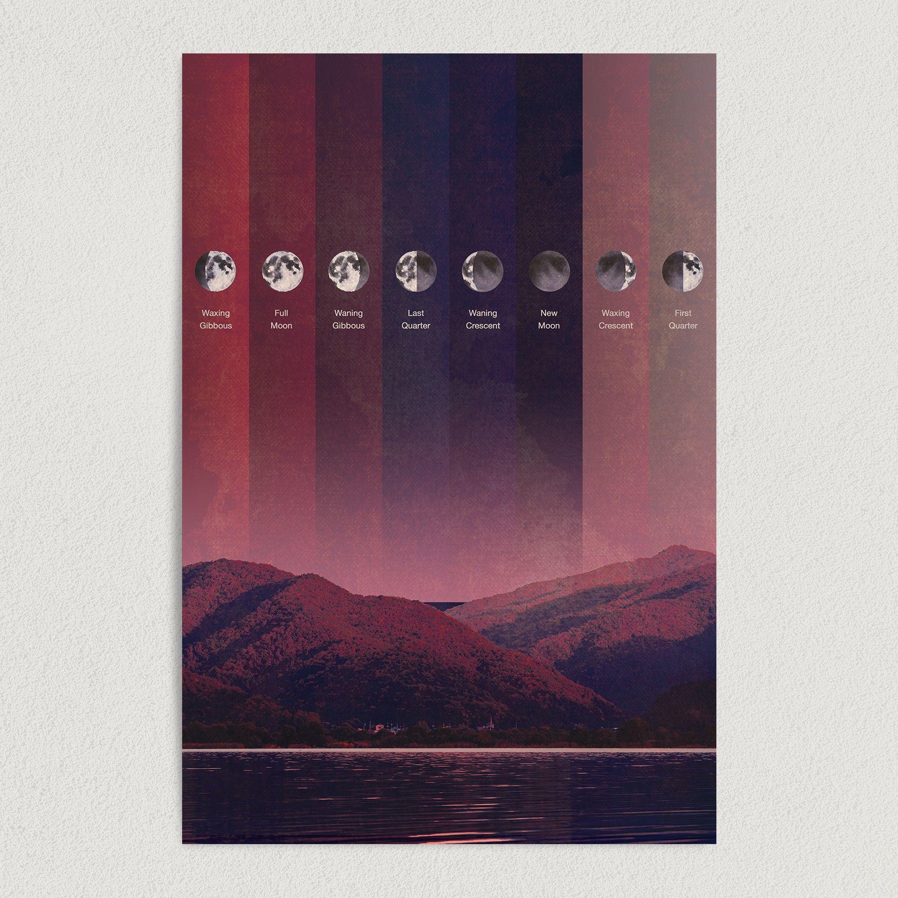 Moon Phases Surreal Lunar Cycle Art Print Poster 12″ x 18″ Wall Art S2270
