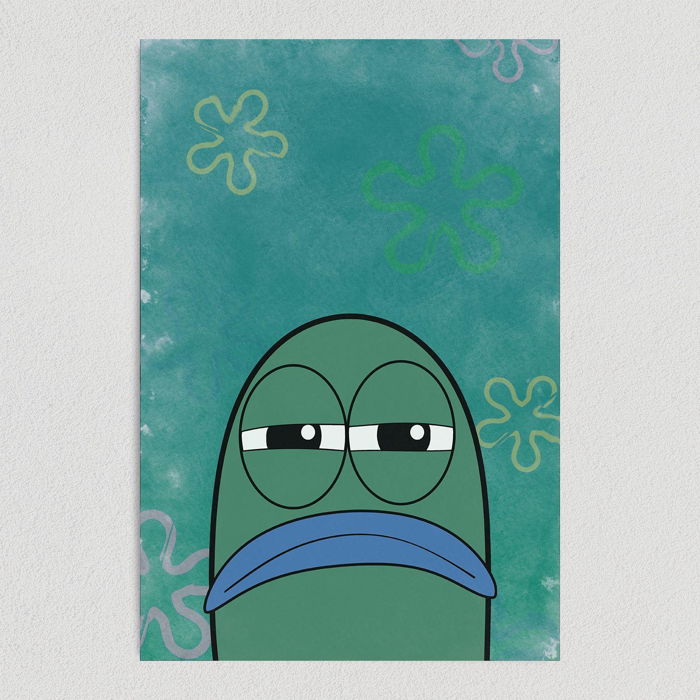 Spongebob Square Pants Serious Lifeguard Fish Art Print Poster 12″ x 18″ Wall Art TV1010