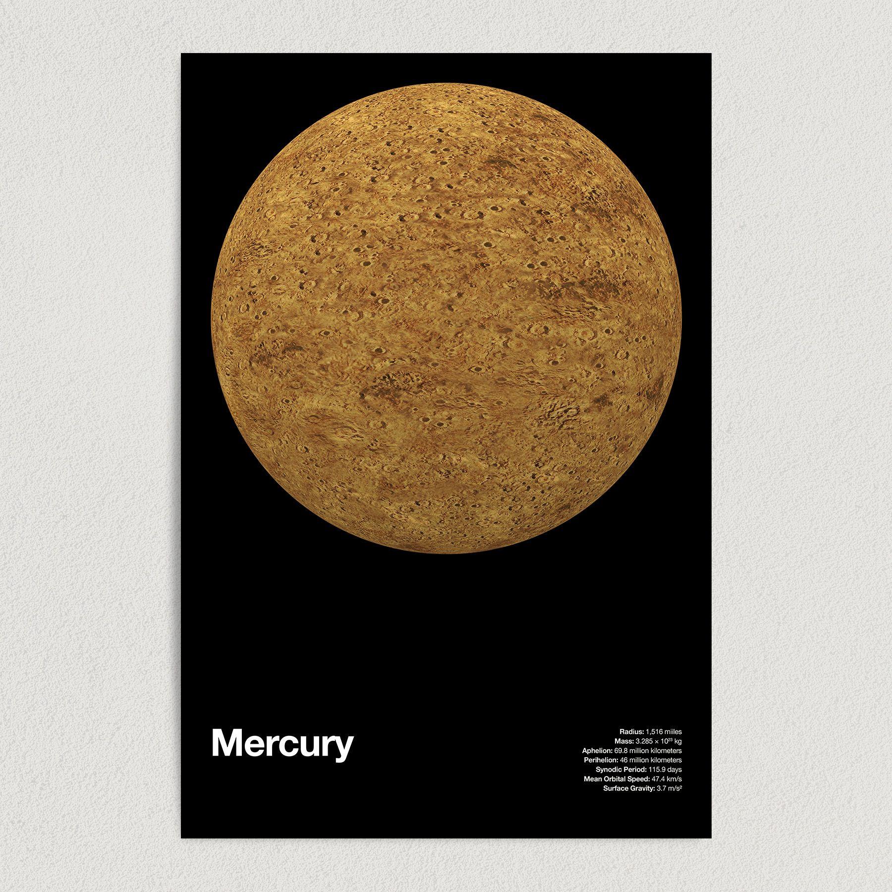 Planet Mercury Astronomy Education Art Print Poster 12″ x 18″ Wall Art SS2158