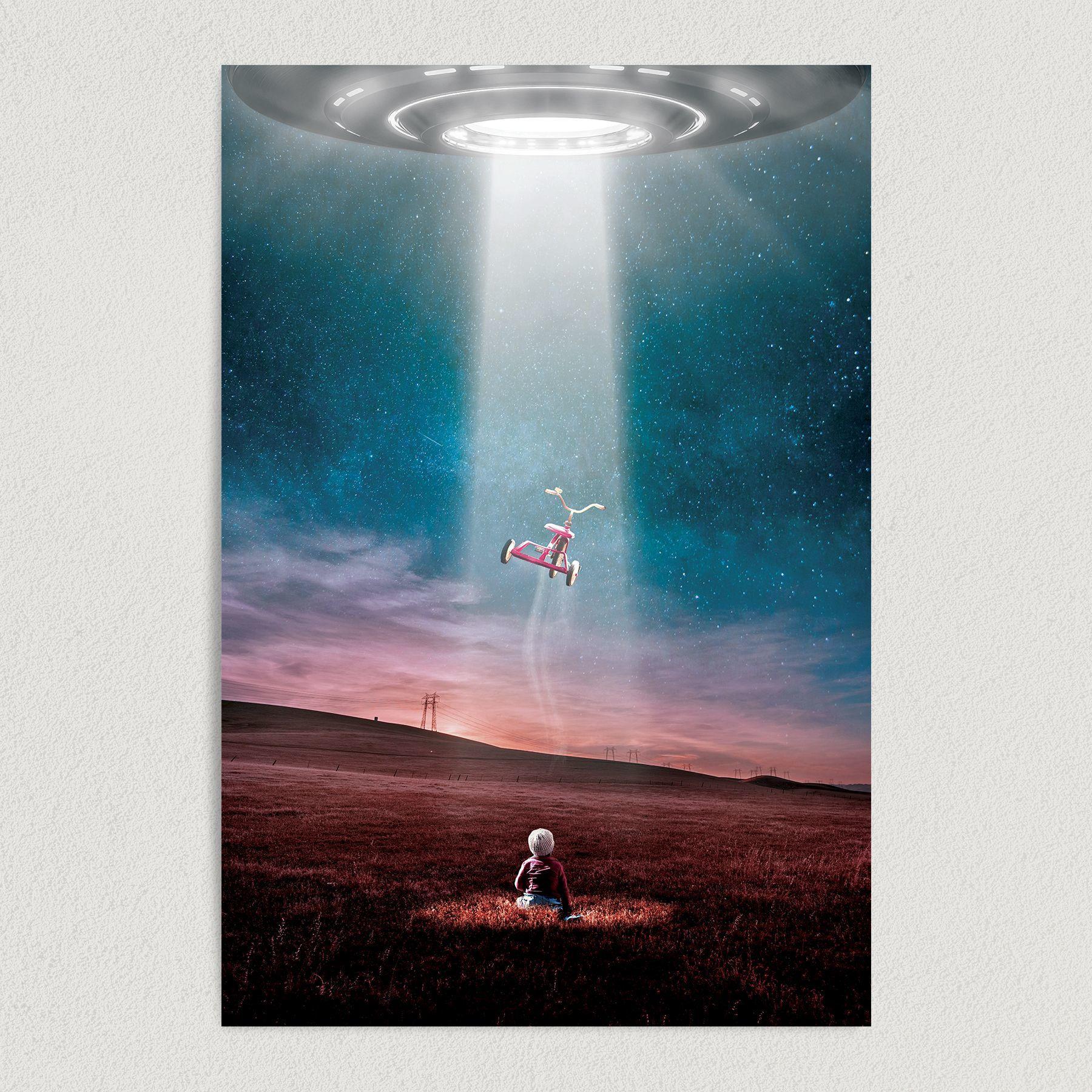 UFO Beams Child Art Print Poster 12″ x 18″ Wall Art ST2201