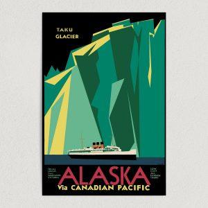 """Taku Glacier Alaska Travel Art Print Poster 12"""" x 18"""" Wall Art T1006"""