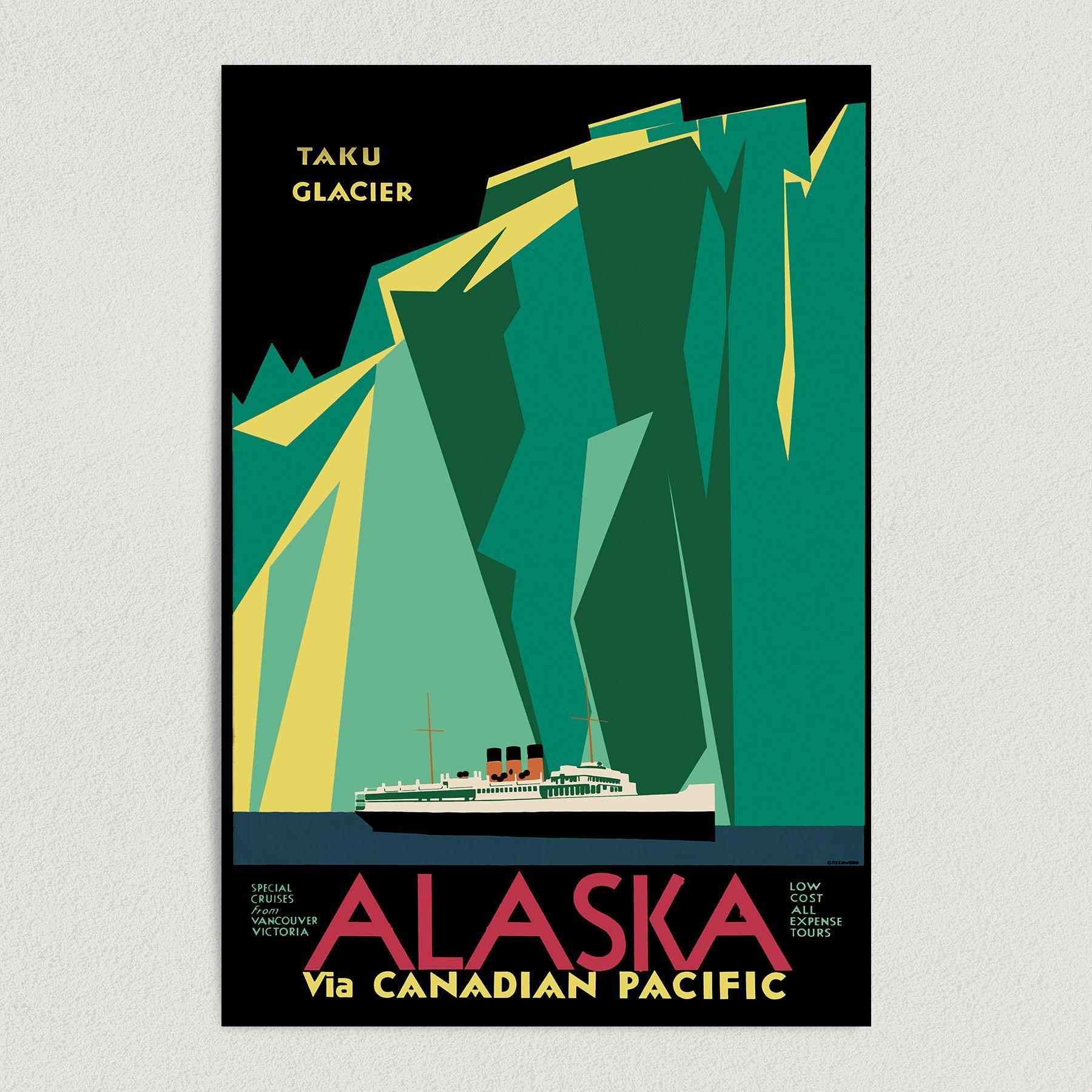 Taku Glacier Alaska Travel Art Print Poster 12″ x 18″ Wall Art T1006