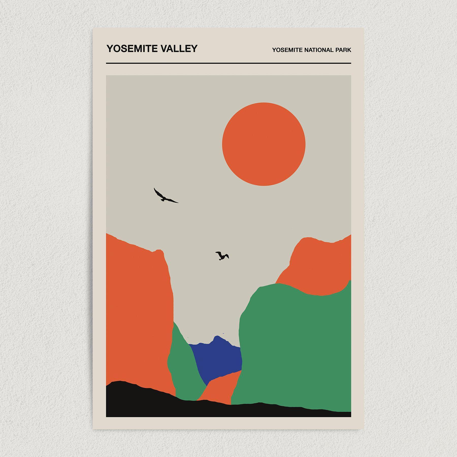 Yosemite Valley – Yosemite National Park Minimalist Art Print Poster 12″ x 18″ Wall Art T1220