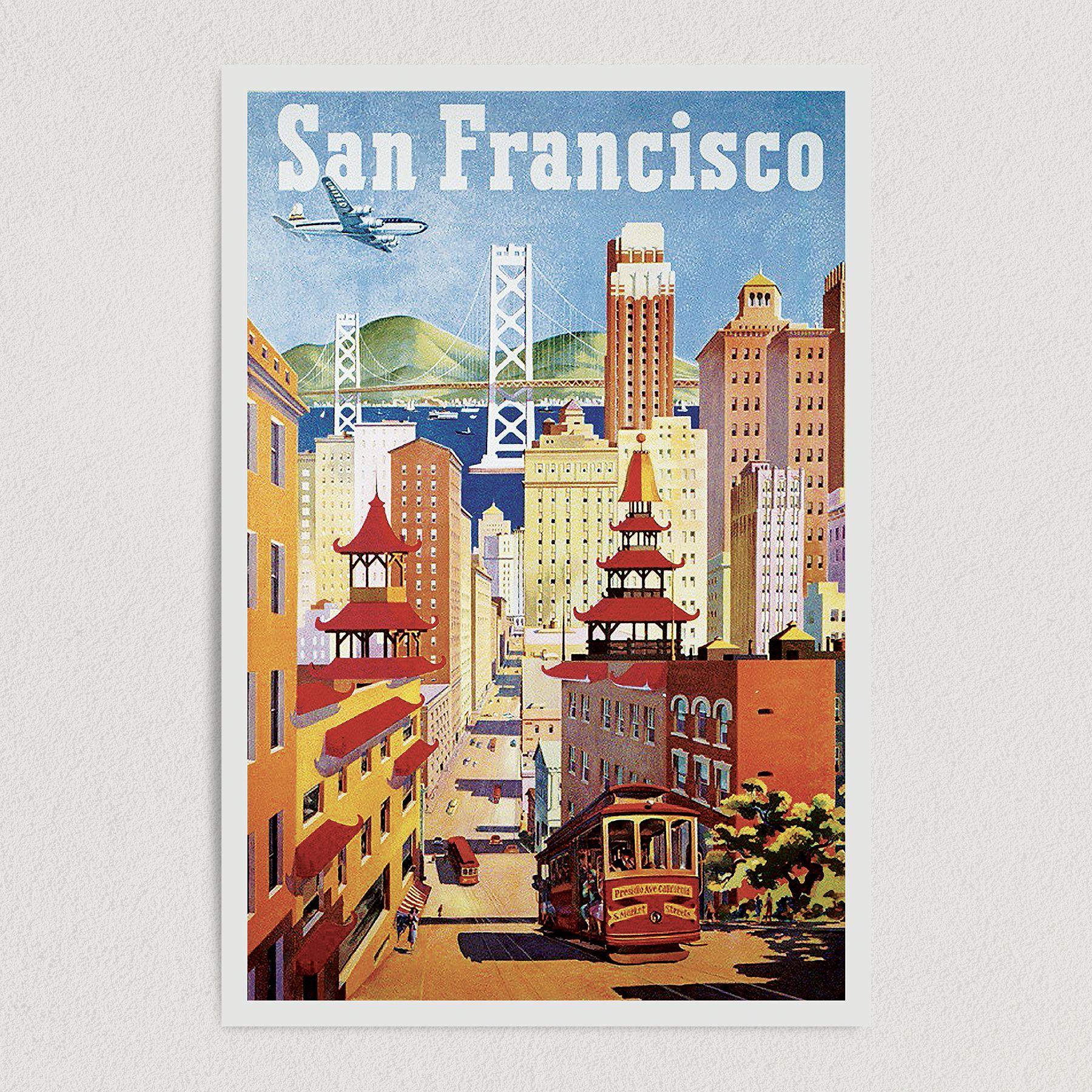 San Francisco Vintage Travel Illustration Art Print Poster 12″ x 18″ Wall Art T2133