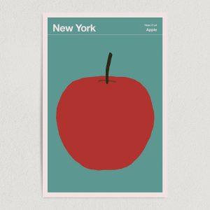 """New York State Fruit Apple Illustration Art Print Poster 12"""" x 18"""" Wall Art T2136"""